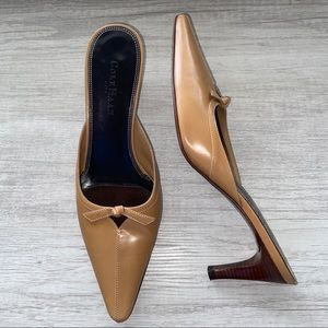 Cole Haan City Leather Bow Point Kitten Heel Mule